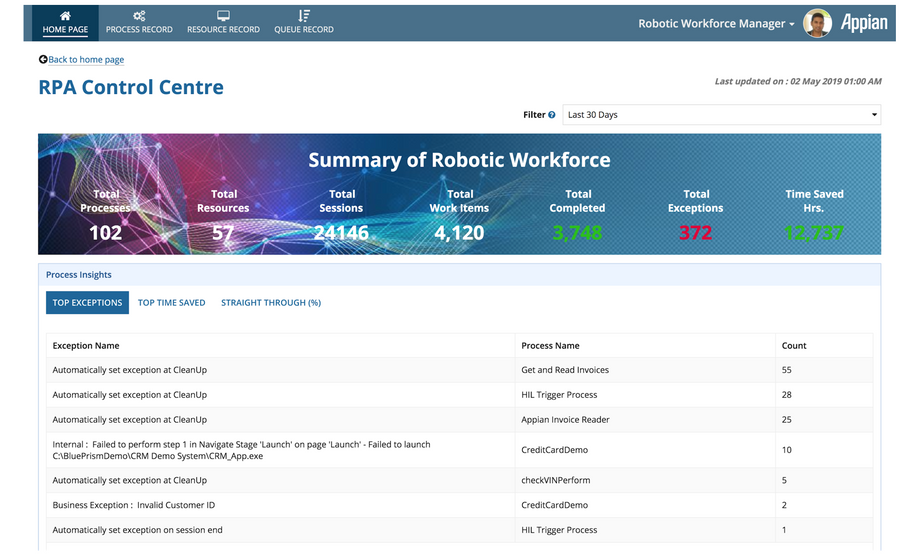 appian robotic workforce manager rpa control centre