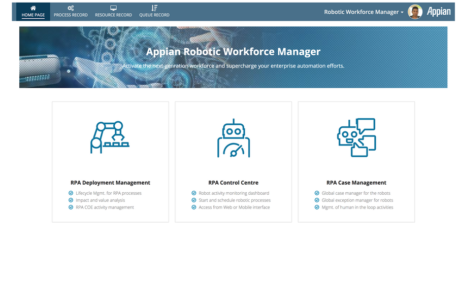 appian robotic workforce manager home page