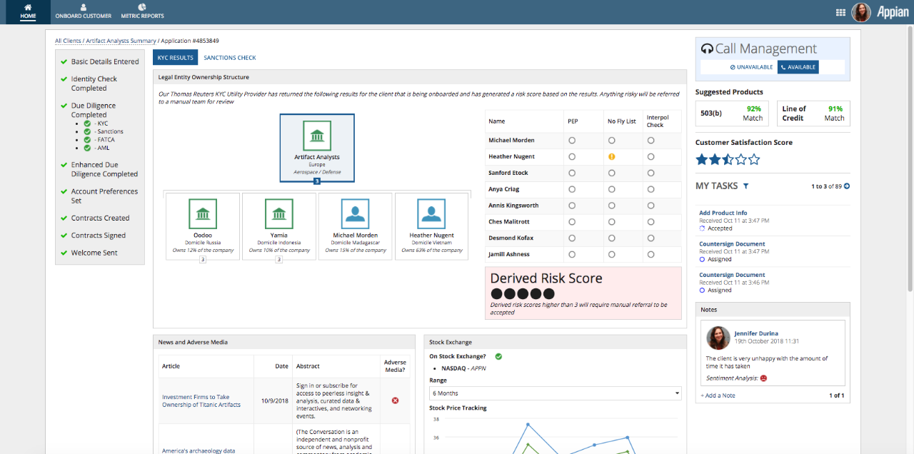 appian customer on-boarding know your customer dashboard